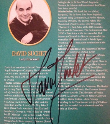 David Suchet signed my programme of The Importance of Being Earnest after the November 2nd performance - DR
