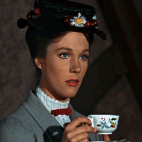 Mary Poppins drinking tea