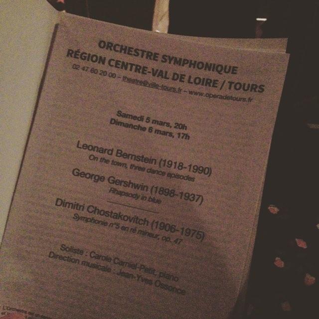 Bernstein, Gershwin et Chostakovitch : le programme du concert de l'orchestre de Tours le 5 mars 2016 - ©Chloé Chateau
