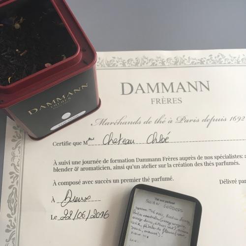 Certification de composition d'un premier thé parfumé délivré par Dammann Frères - ©Chloé Chateau