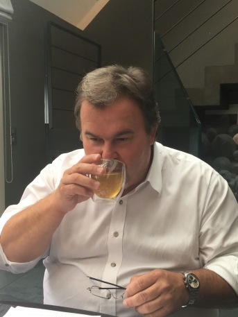 Pierre Hermé having a cup of TO by Lipton tea - ©Chloé Chateau