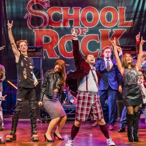 School of Rock, the musical UK, starring David Fynn in New London Theatre
