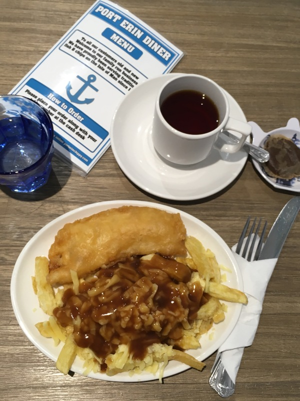 Fish and Chips with Manx cheddar and Builder's tea at Port Erin Diner