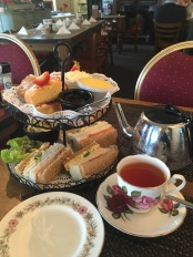 Tea time for lunch at Harbour lights in Peel, Isle of Man
