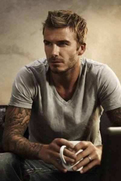Hot David Beckham drinks tea