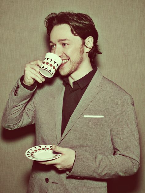 Hot James McAvoy drinks tea