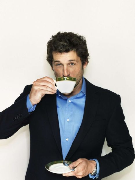 Patrick Dempsey drinks tea