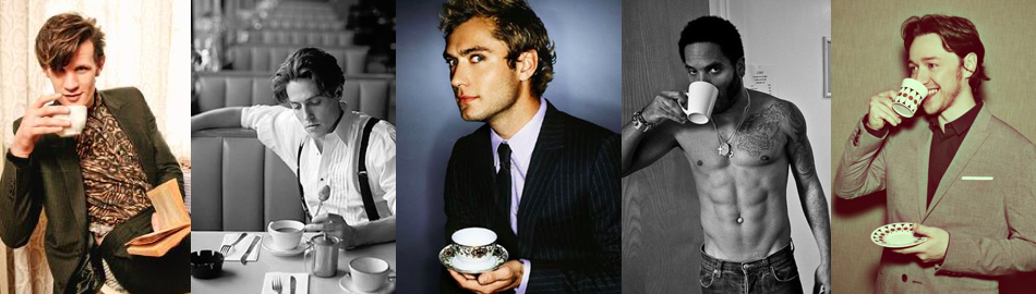 Hot men drink tea