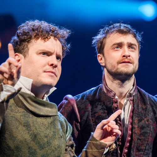 Joshua McGuire and Daniel Radcliffe in Rosencrantz and Guildenstern Are Dead at The Old Vic - DR