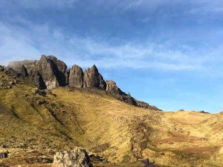 Climbing the Old Man of Storr, Isle of Skye, Scotland