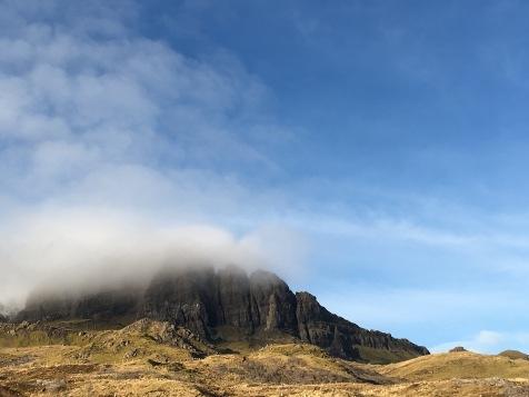 Climbing down the Old Man of Storr, Isle of Skye, Scotland