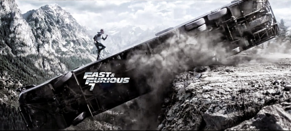 Fast and Furious 7 - Paul Walker escapes the bus falling off a cliff