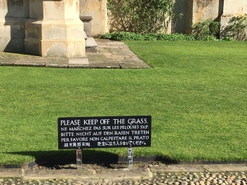 Inside King's College - Keep off the grass