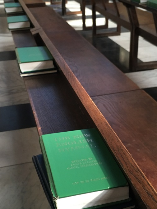 Inside King's College Chapel in Cambridge - Prayer books