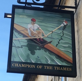 Pub sign in Cambridge - punting - Champion of the Thames