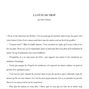 La Fête de trop nouvelle short story challenge 2018
